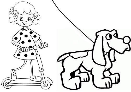 Perros y niños cruzando
